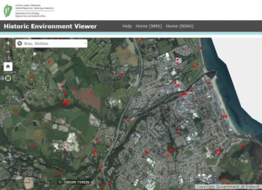 Image of Bray from National Monument Service website with heritage sites marked | Government of Ireland