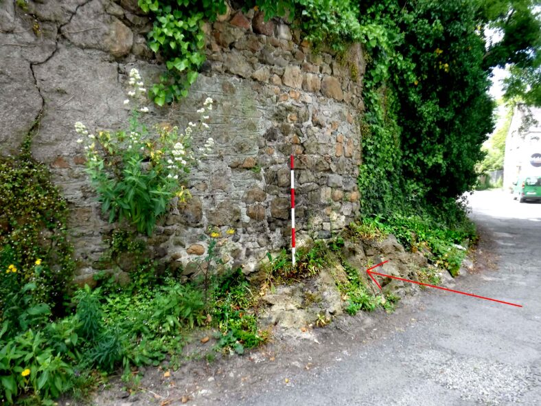 Closeup of the remains of the Dearg Ail, with modern wall on top. Fig 4. | The Medieval Bray Project