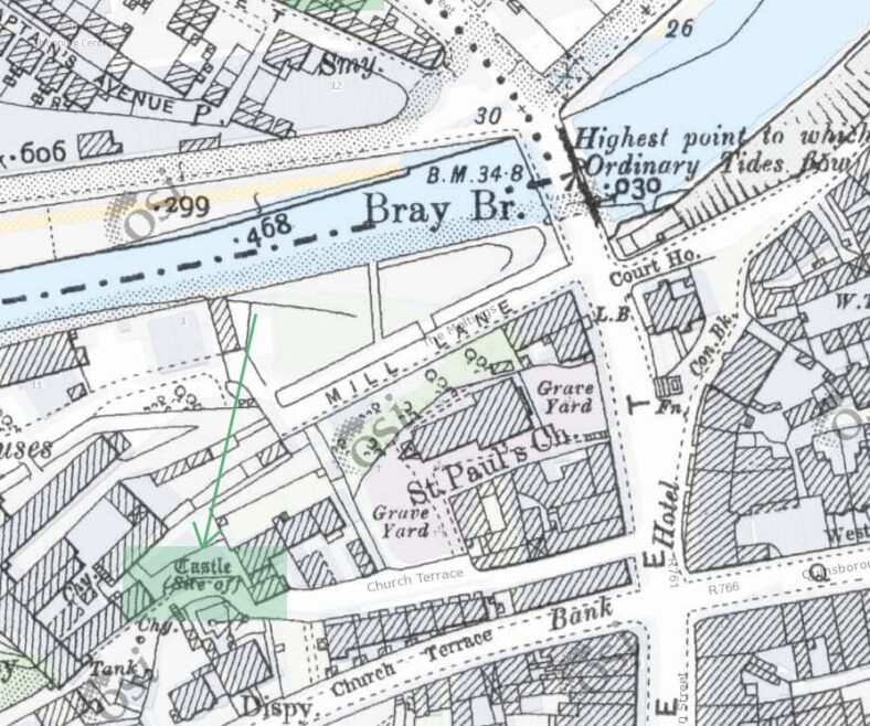 Site of Castle at Church Terrace (Back of St. Paul's Church)   | OSI Historic Map 25 in (1888-1913)