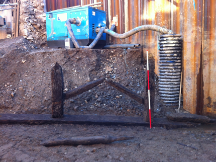 Remains of a bridge possibly from the 13c unearthed during an excavation carried out by Dr. Ellen O'Carroll , Archaeological and Wood Specialist  during flood works in Bray. Fig. 2 | Dr. Ellen O'Carroll, Archaeological Consultancy and Wood Specialist