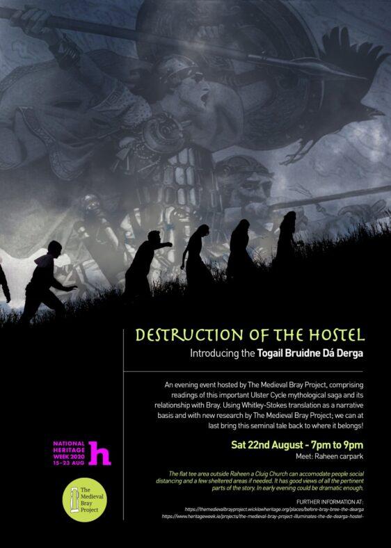 Poster for Heritage Week 2020 - Destruction of Da Derga's Hostel | The Medieval Bray Project