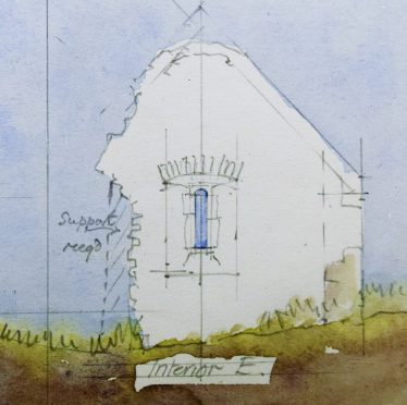 East Interior Elevation - Leask 1925 | Original Drawing: H. G. Leask,  Photo: Medieval Bray Project