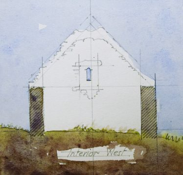 West Interior Elevation of Raheen-a-cluig, Leask, 1925 | Original Drawing: H. G. Leask,  Photo: Medieval Bray Project