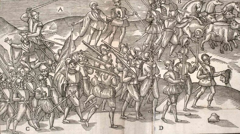 English Soldiers with heads of defeated Irish c. 1581
