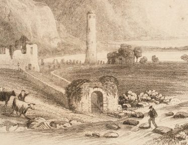 Etching by Newman of the Entranceway with Stepping Stones   Courtesy of the National Library of Ireland