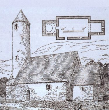Reconstruction drawing by H.G. Leask of Trinity Church, its former round tower at the west end | Courtesy of Con Manning, Archaeology Ireland and Wordwell Publishing