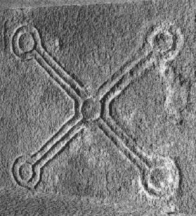 : Saltire cross on underside of door lintel of St Mary's | Courtesy of Con Manning, Archaeology Ireland and Wordwell Publishing