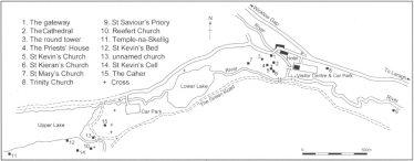 Map of Glendalough (Martin Halpin) | Courtesy of Con Manning, Archaeology Ireland and Wordwell Publishing