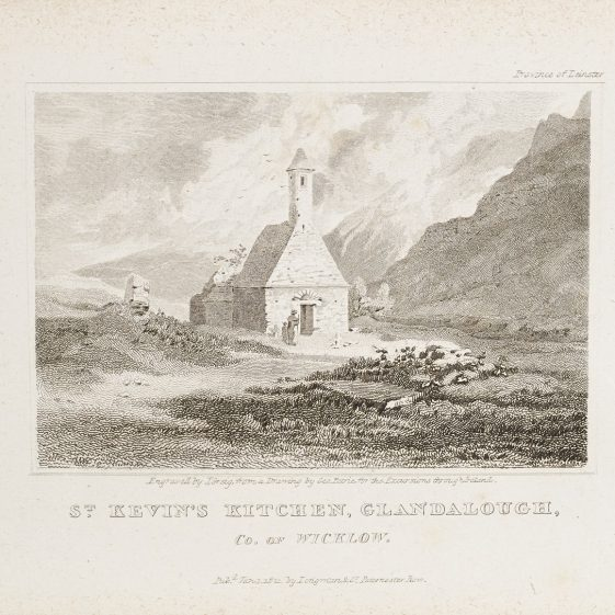 St. Kevin's Kitchen, Glandalough by George Petrie | Courtesy of the National Library of Ireland