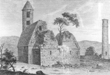 Eighteenth-century view of St Kevin's Church, showing the now missing stone-roofed chancel | rtesy of the National Library of Ireland