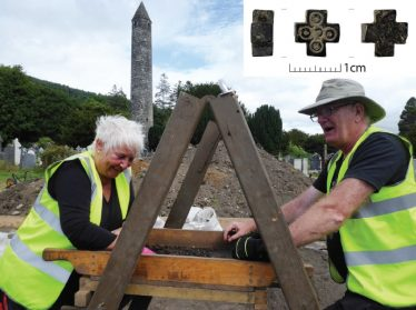 Fig. 6—Community volunteers Maura Fidgeon and Cormac McGrane sieving excavated soil. Their patience was rewarded when Cormac later recovered the tiny cross carved from Whitby jet and inlaid with tin (inset). | Courtesy of Glendalough Heritage Froum and Wordwell Publishing