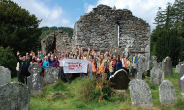 Fig. 8—Community volunteers participating in a graveyard survey facilitated by Glendalough Heritage Forum and UCD staff and students celebrating Heritage Week 2015 at the Cathedral. | Courtesy of Glendalough Heritage Froum and Wordwell Publishing