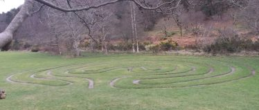 Recreation of the Labyrinth Stone pattern on the lawn at Glendalough OPW Visitor Centre | Courtesy of Pat Reid