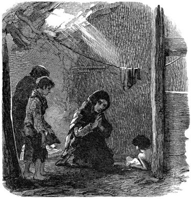 The Widow Connor and her Dying Child - London Illustrated News c.1850 | Courtesy of P. Reid