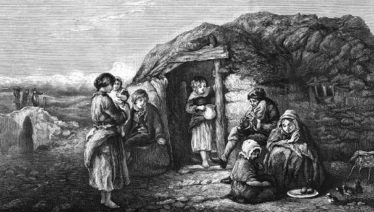 Typical peasant hovel in Ireland early 1800's |  Courtesy of P. Reid