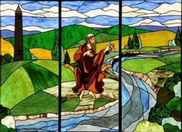 St. Kevin featured in stained glass | Artist Unknown