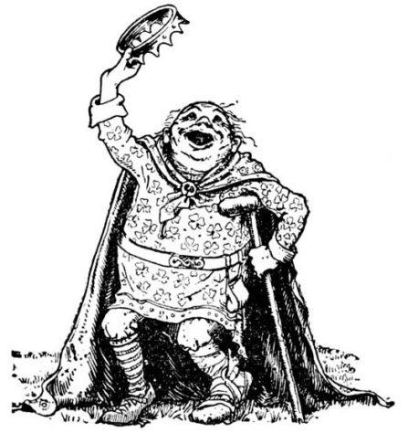King O'Toole rejoicing