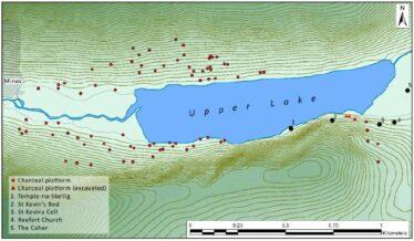 Fig. 14 - Charcoal production platforms surrounding the Upper Lake, Glendalough