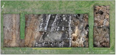 Fig. 7 - Overview of end of excavation in 2018 - ditch indicated by yellow line